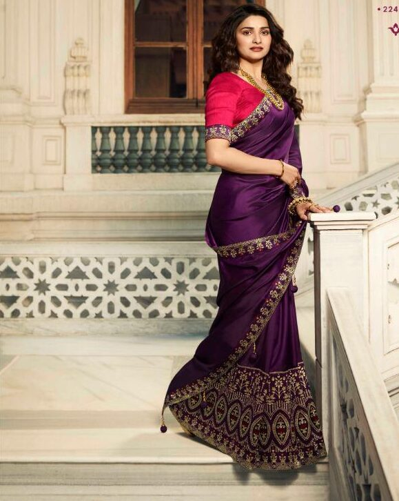 purple saree matching blouse