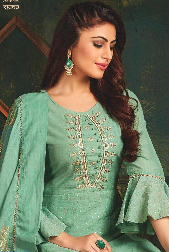 Turquoise Green Kurta Anarkali Style