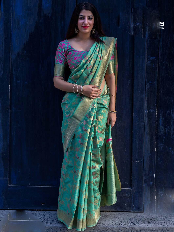 Green Banarasi Sarees for Wedding