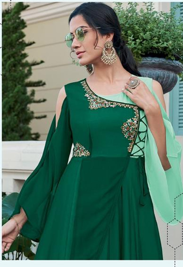 Green Colour Combination Gown Images with Price