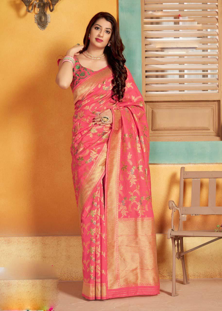 Hot Pink Banarasi Saree