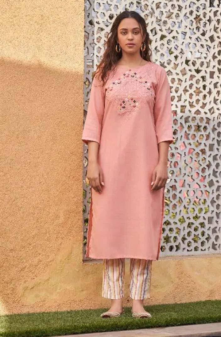 Latest Designer Baby Pink Long Kurti with Plazzo