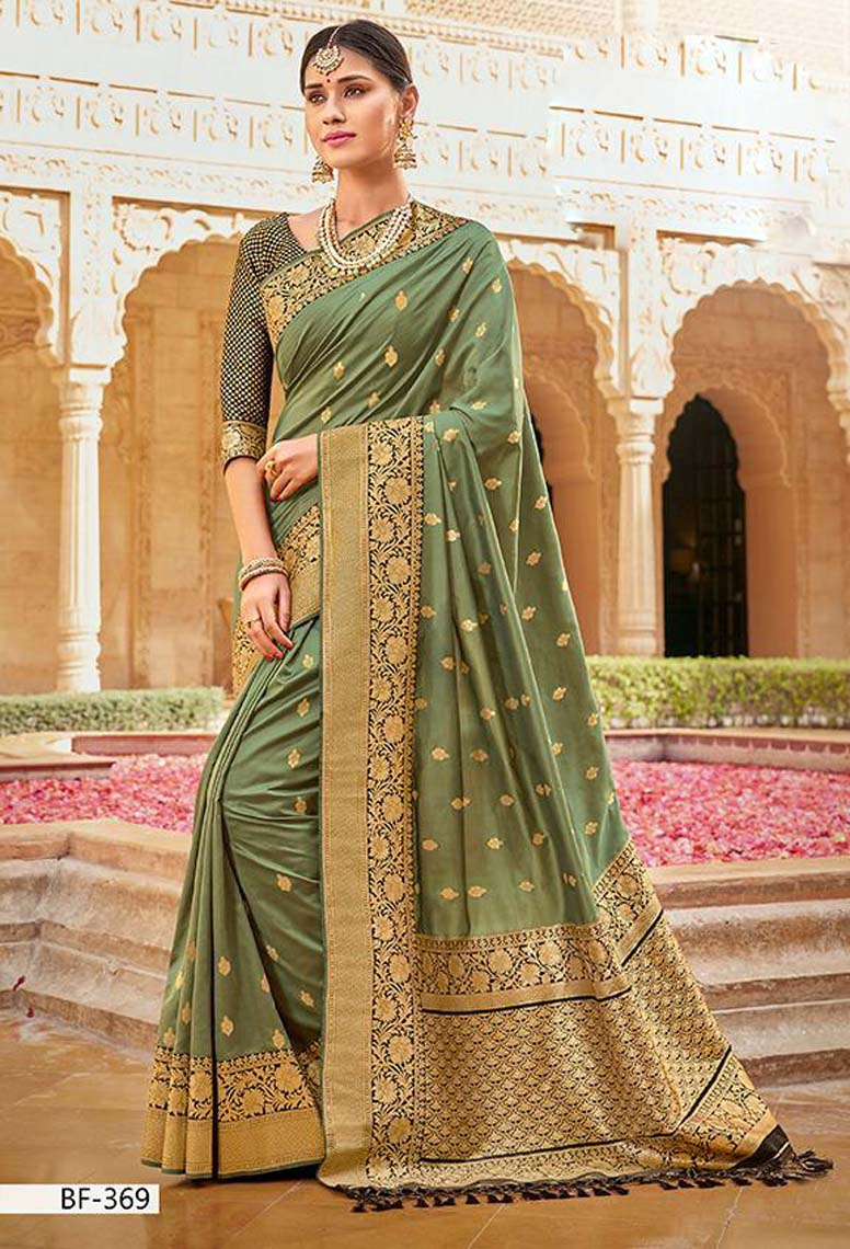 Light Green Pure Silk Saree with Contrast Black Blouse