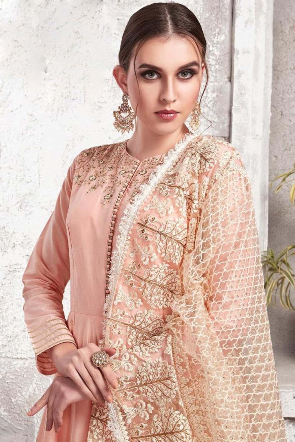 Heavy Cotton Maslin Baby Pink Gown Zurich Satin Fabric Wedding Dresses