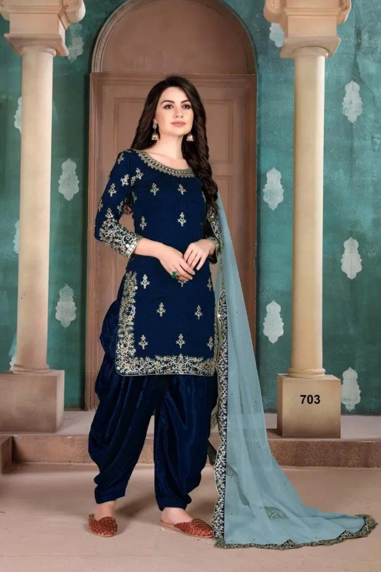 Navy Blue Heavy Embroidered Patiala Suits