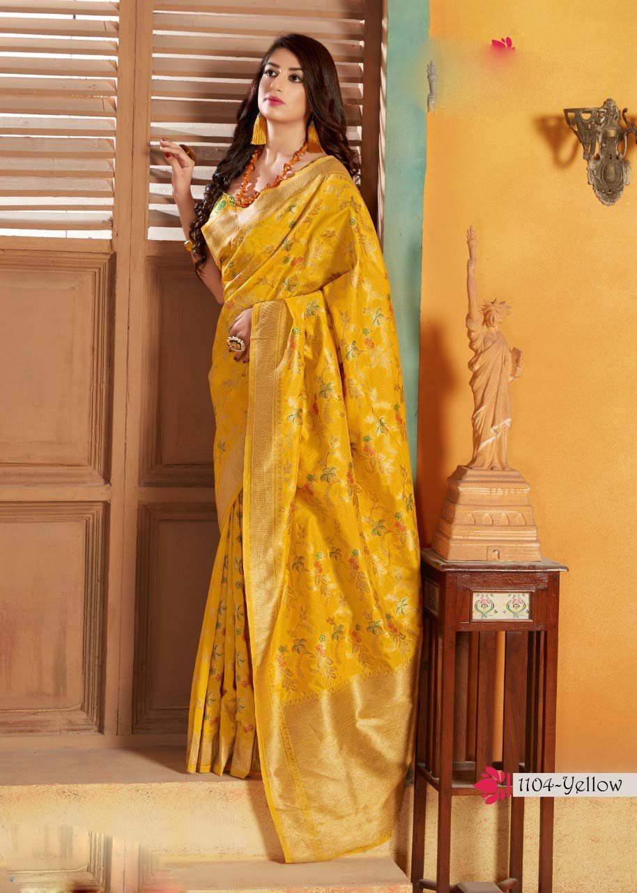 Yellow Colour Original Banarasi Saree