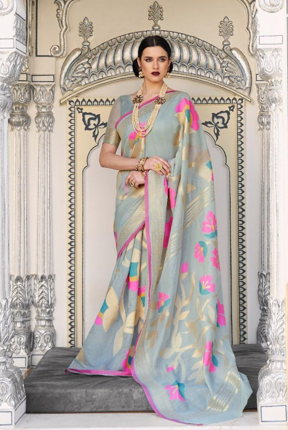 Grey Colour Saree with Flower Print