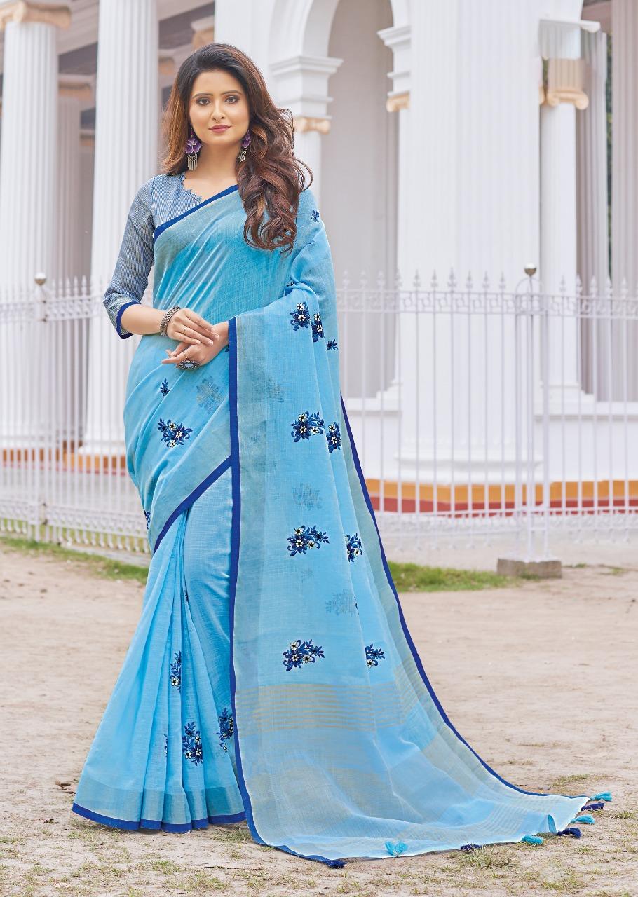 Baby Blue Linen Cotton Royal Saree Collection