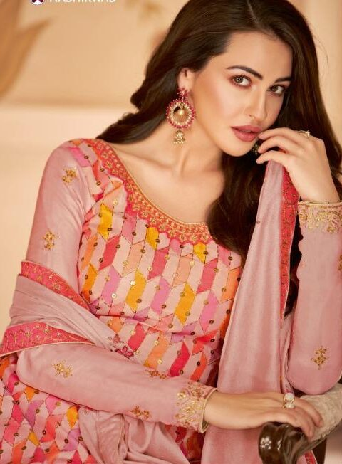 Baby Pink Digital Print Tussar Silk Unstitched Suits