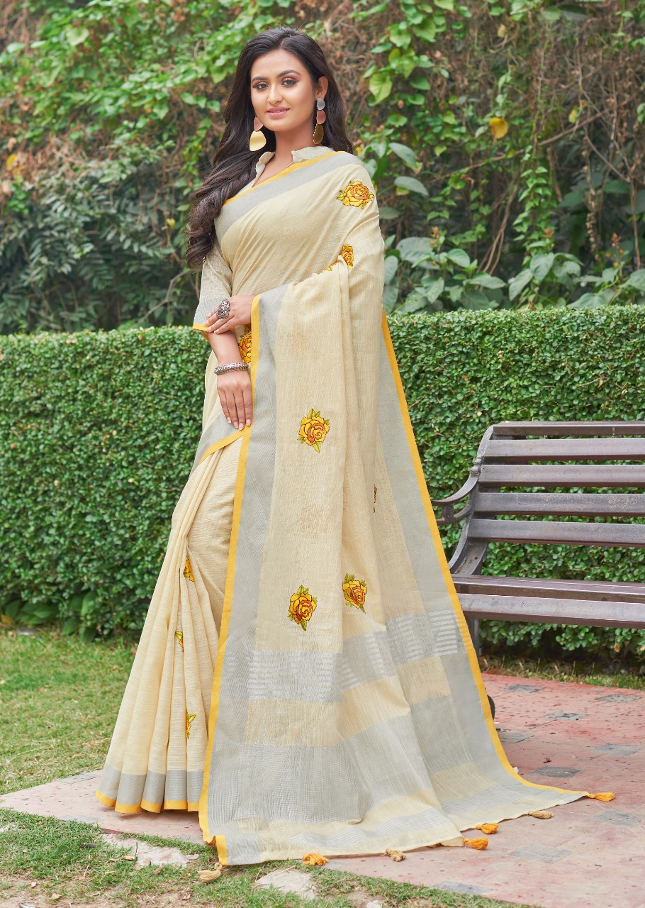 Baby Yellow Embroidered Designer Saree Blouses Online