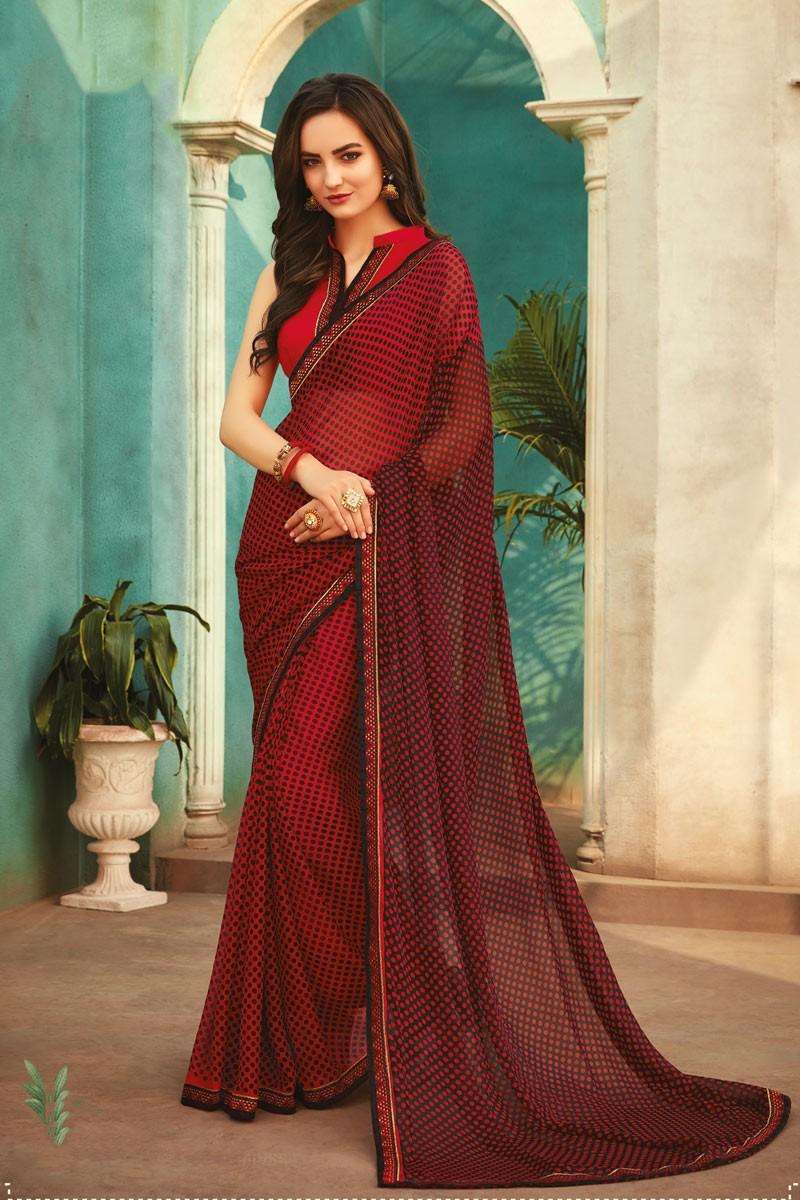 Daily Wear Printed Saree Chiffon Red Colour Polka Dot