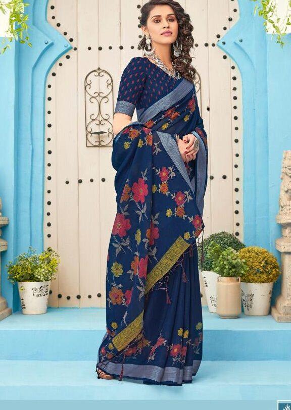 Dark Blue Pure Linen Silk Sarees Online
