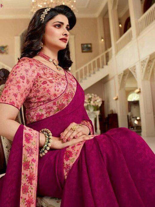 Designer Bordered Plain Saree with Contrast Blouse