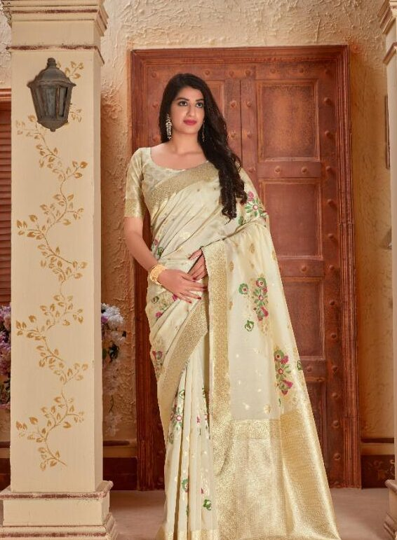 Designer Silk Saree in Cream Colour