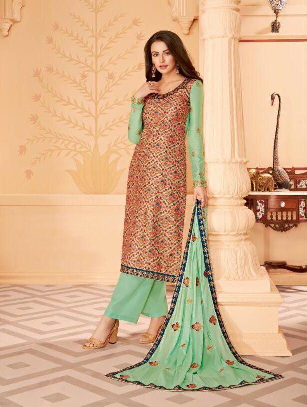 Digital Print Embroidered Tussar Silk Churidar Set