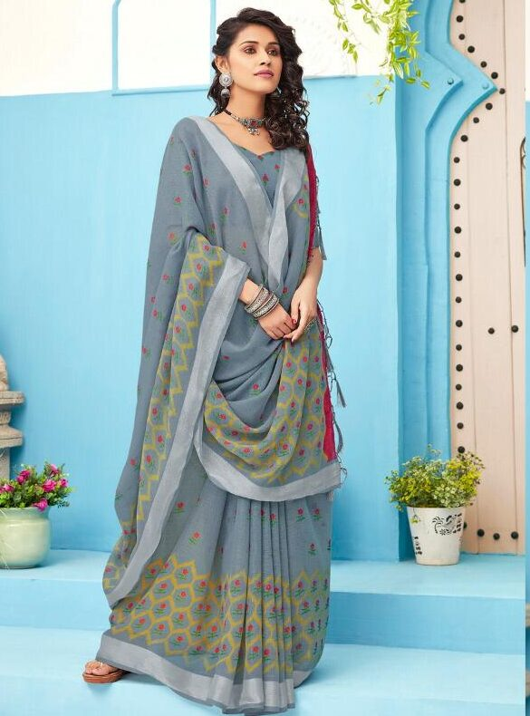 Grey Colour New Designer Printed Linen Sarees Online