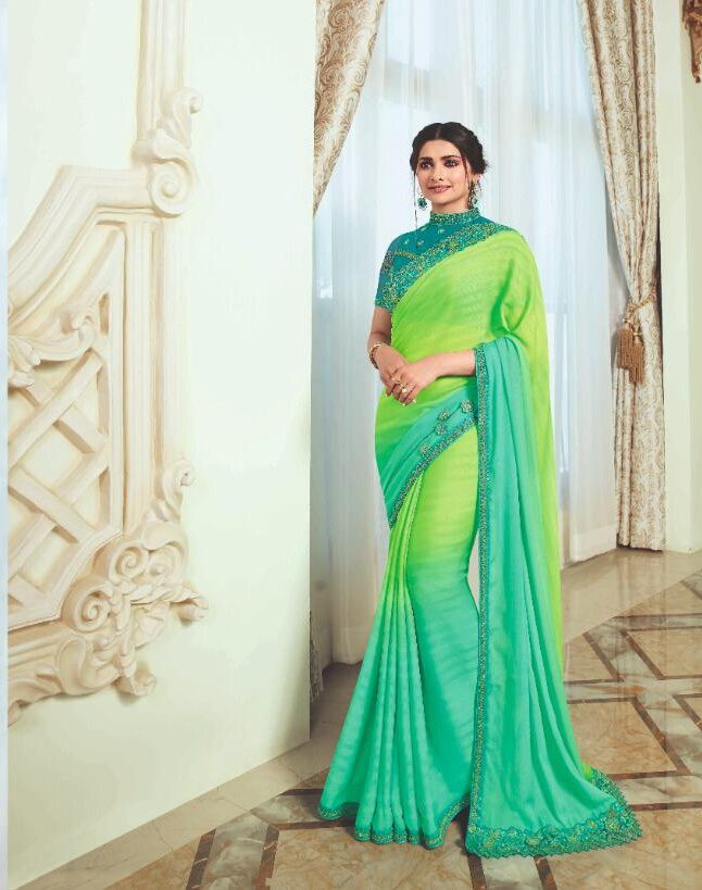 Heavy Embroidered Lime Green Chiffon Sarees for Wedding