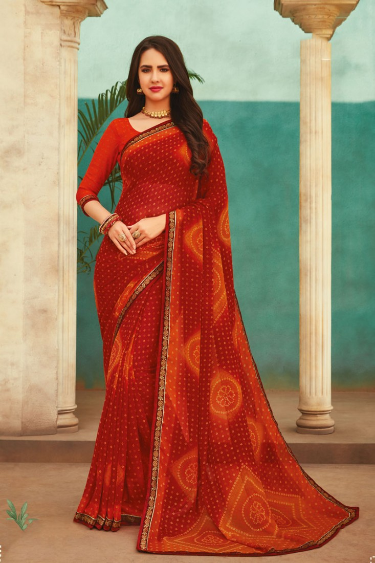 Hot Red Casual Wear Saree for Office and Daily Use