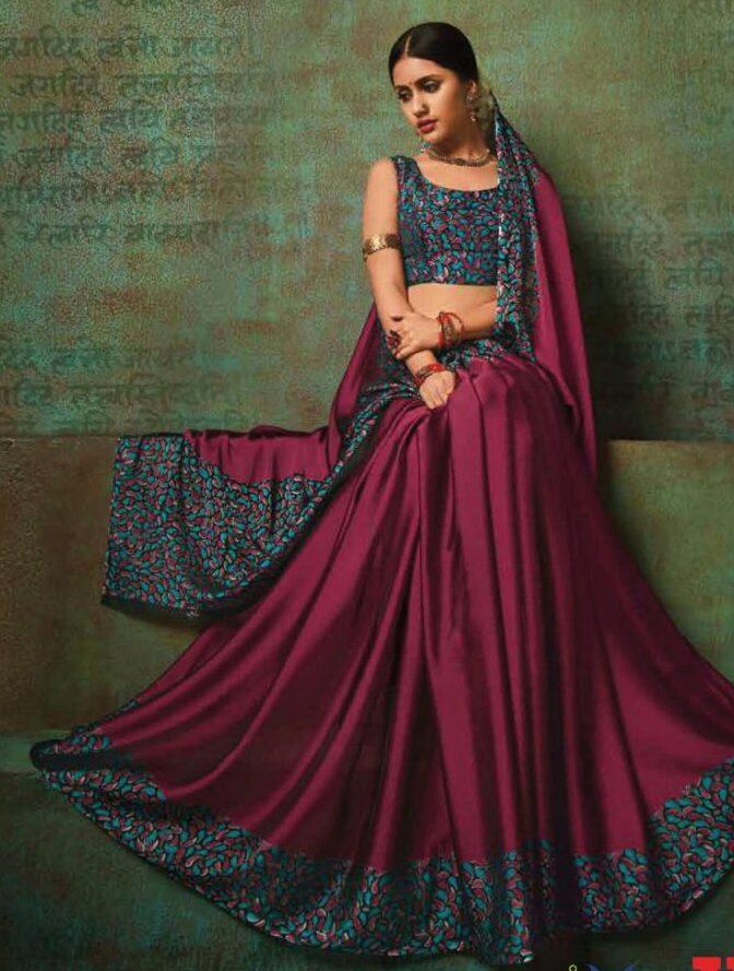 Latest Designer Leopard Print Saree in Plum Colour Saree