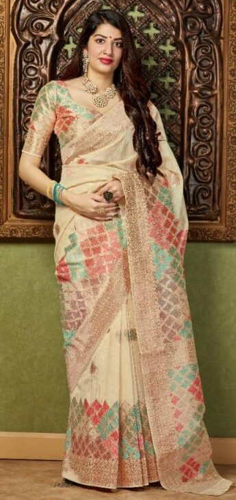 New Designer Cream Color Silk Saree
