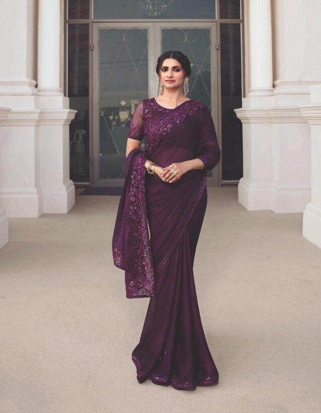 New Designer Embroidered Purple Colour Saree for Wedding