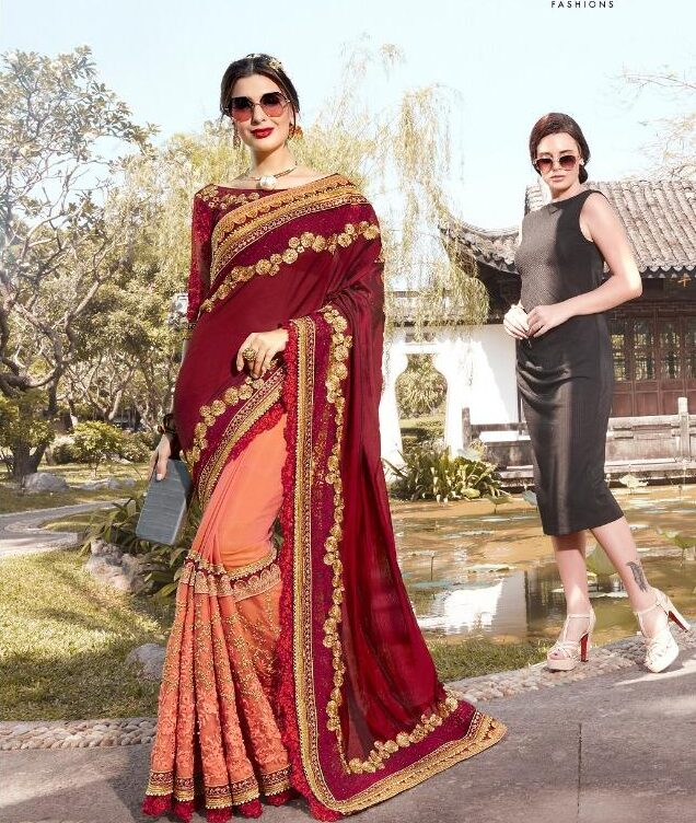New Designer Embroidered Redorange with Maroon Saree for Wedding