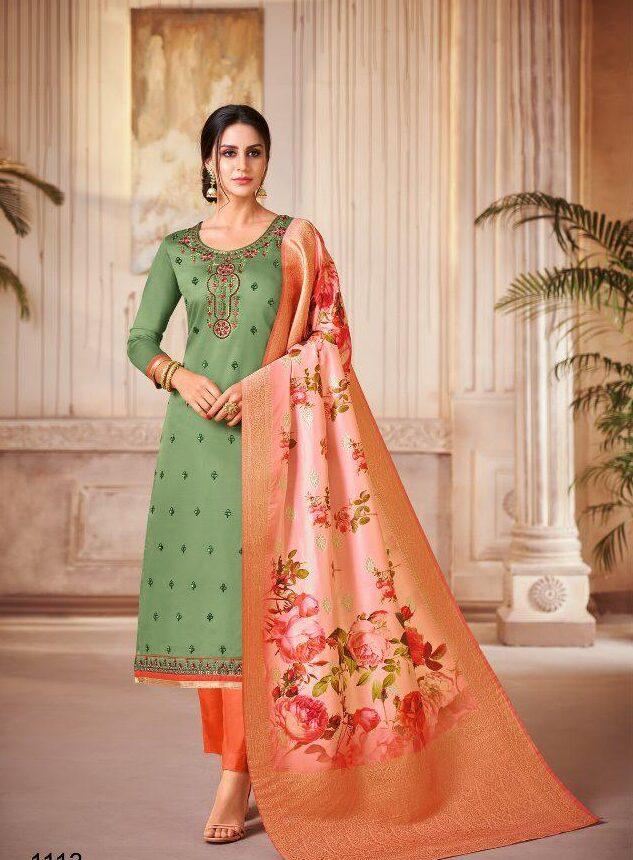New Designer Parrot Green Color Suit With Dupatta
