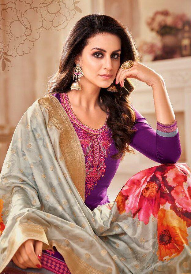 New Designer Purple Color Wholesale Textile Market.