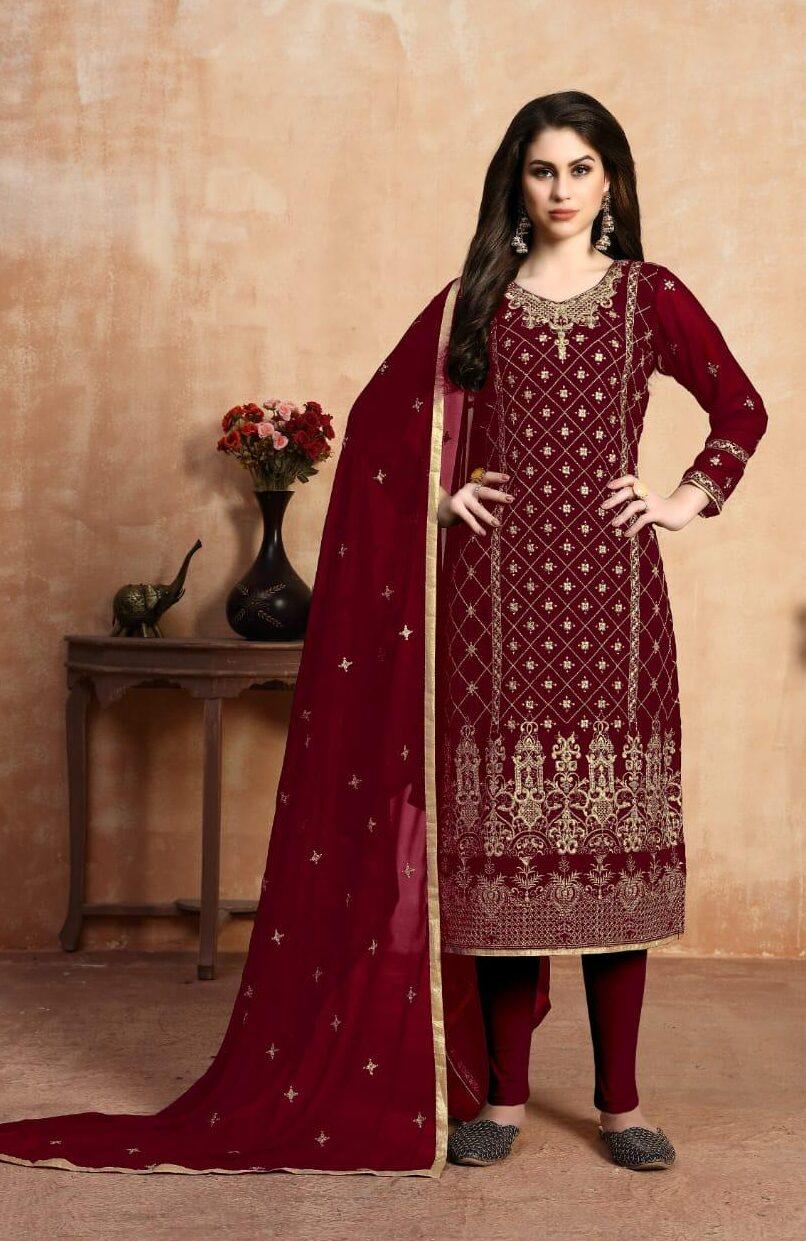 New Designer Red Color Wholesale Catalogue Suit