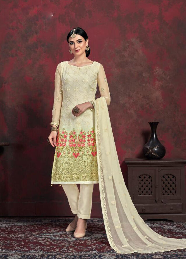 Off White Designer Embroidered Chiffon Salwar Suits Dress Material