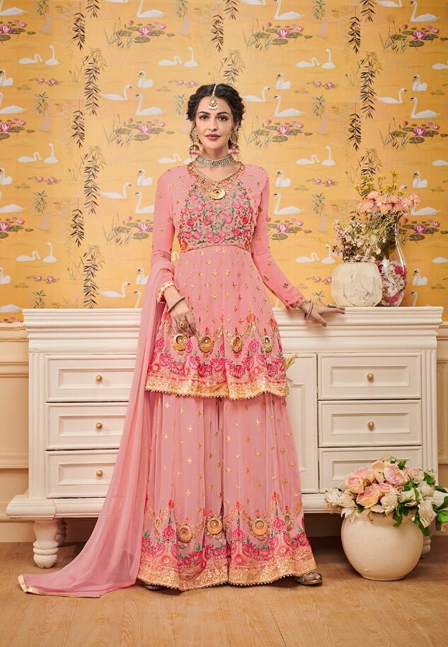 Pink Colour Royal Embroidered Sharara Dress for Wedding