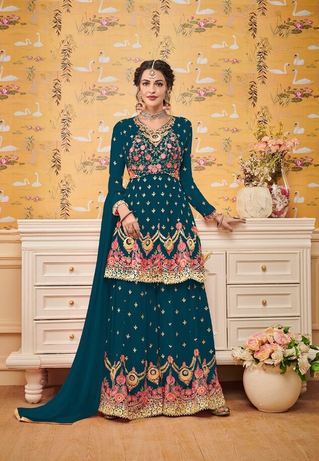 Royal Blue Fully Embroidered Punjabi Sharara Suits Party Wear