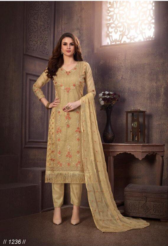 Royal Essence of Embroidered Beige Color Salwar Suit for Wedding