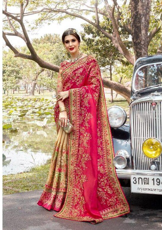 Royal Essence of Latest Designer Rani Pink Saree for Bride
