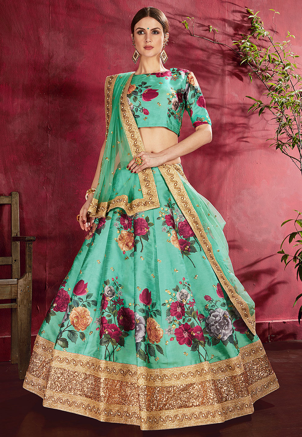 Sky Blue Colour Digital Print Latest lehenga Choli Zari Work on Border