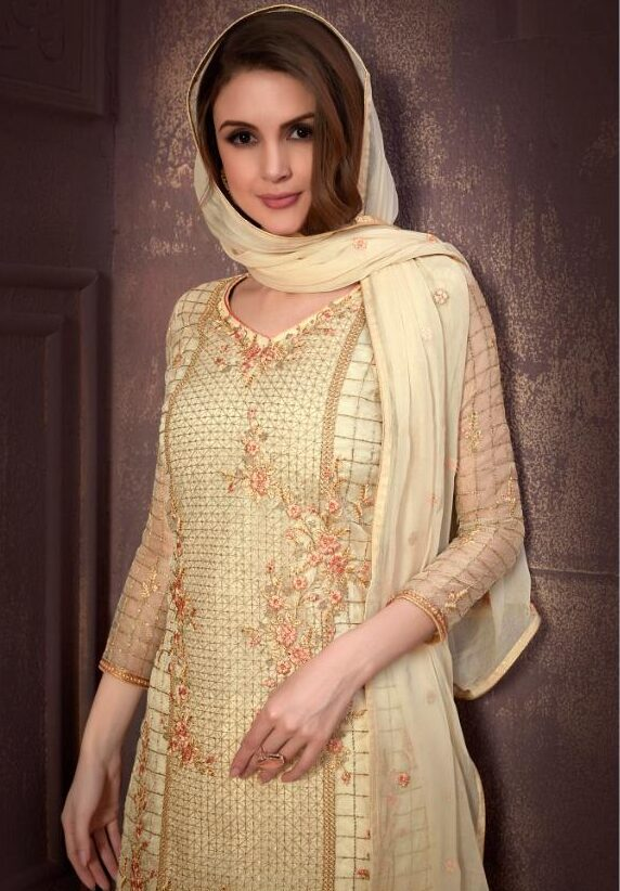 Unstitched Embroidered Cream Color Salwar Suit Combination