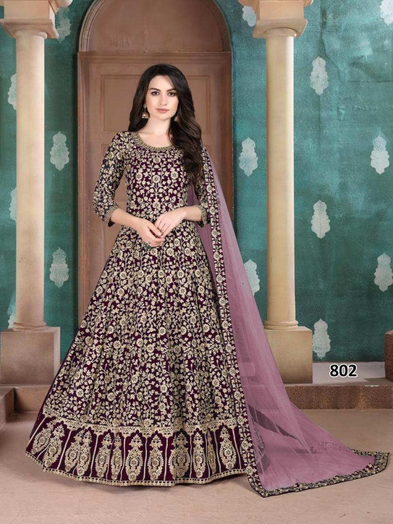 Kundali Bhagya Preeta Style Gown in Dark Purple