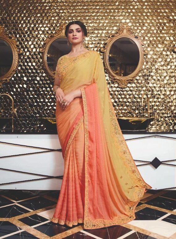 Heavy Embroidered Prachi Desai Saree in Redorange