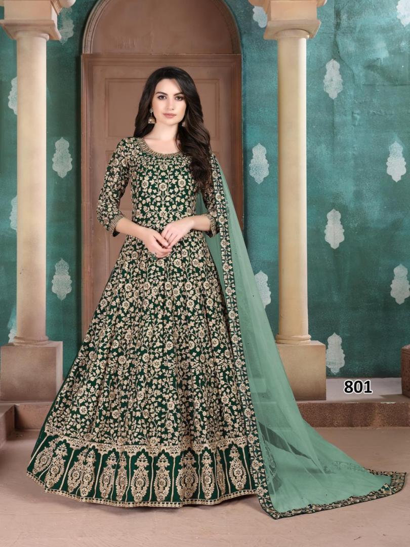 Preeta Arora Wedding Dress Gown in Green Colour