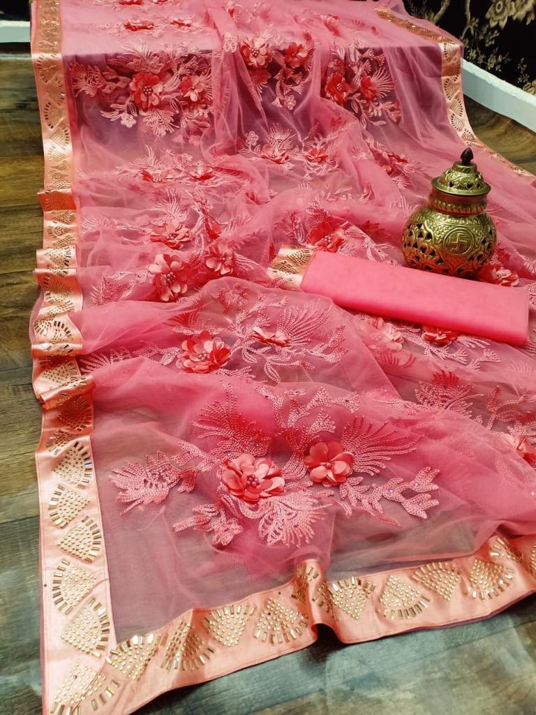 Designer New Fashion Saree in Royal Baby Pink