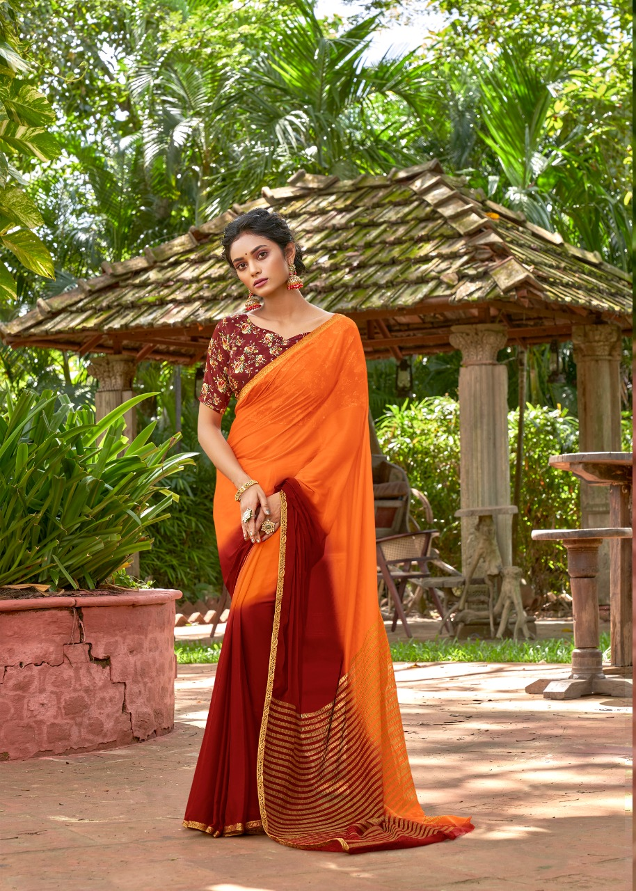 Designer Printed Contrast Blouse for Orange Plain Saree