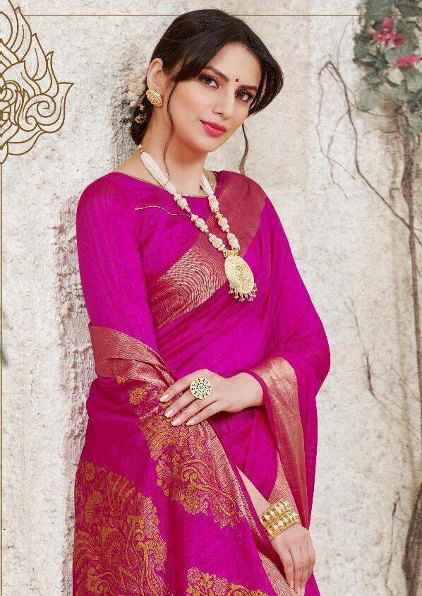 Designer Rani Colour Silk Saree with Zari Border