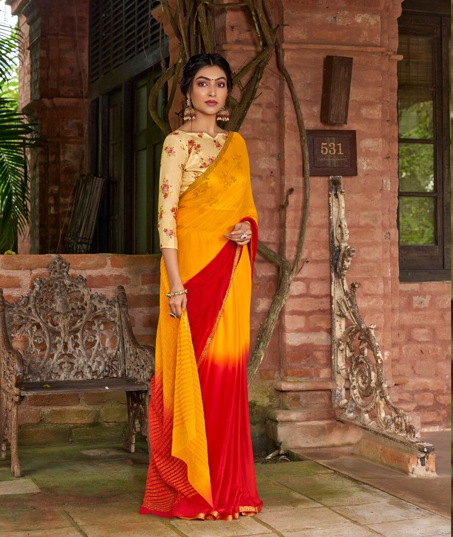 Double Shaded New Orange Chiffon Saree with Contrast Blouse
