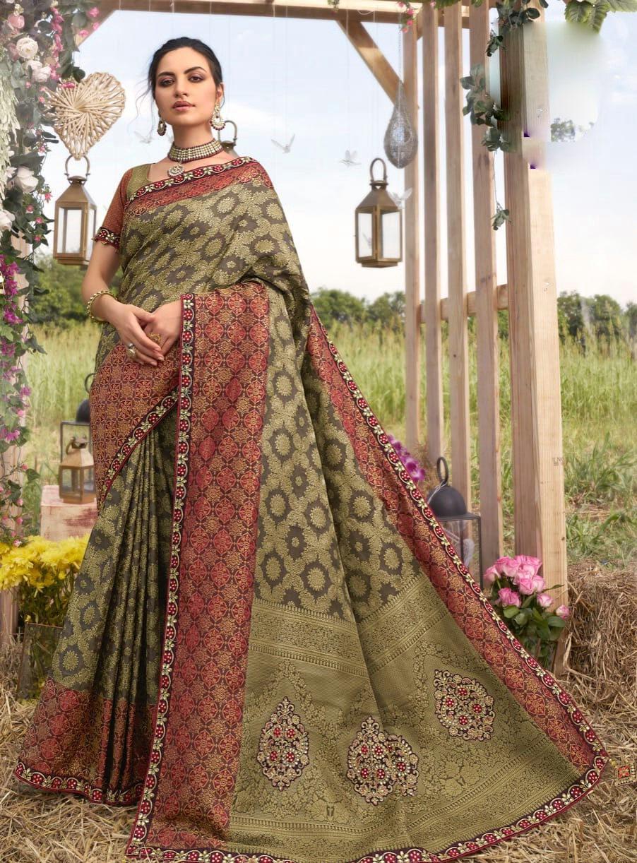 Embroidered Designer Bridal Silk Saree Online