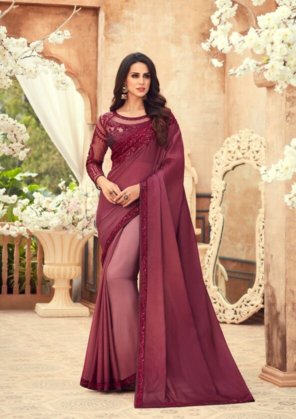 Embroidered Designer Blouse with Plum Color Sequence Saree