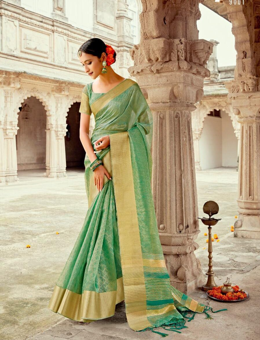 Latest Designer Linen Tissue Saree