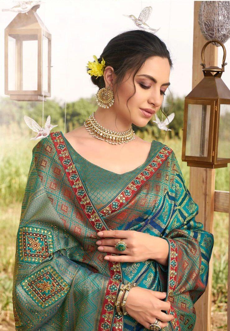 Latest Designer Silk Saree Wedding Blouse Designs in Forest Green