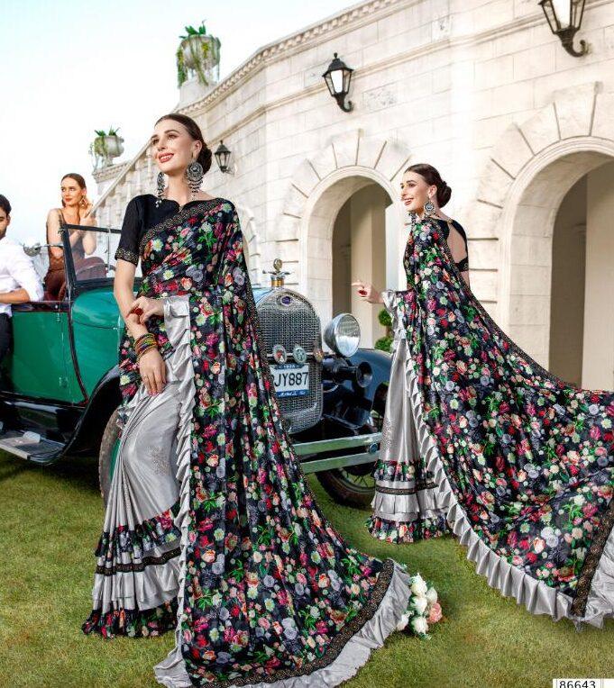 Latest Fashion of Saree in Ruffle Designs
