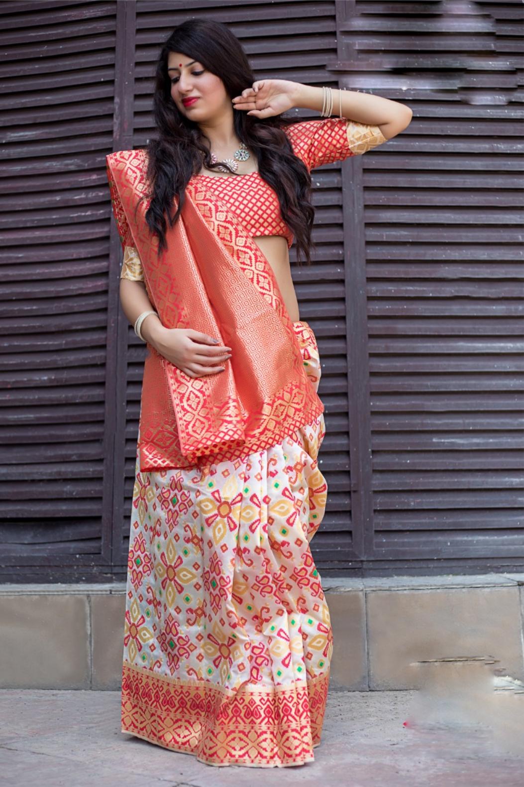 Latest Silk Saree Blouse Design Wedding Wear