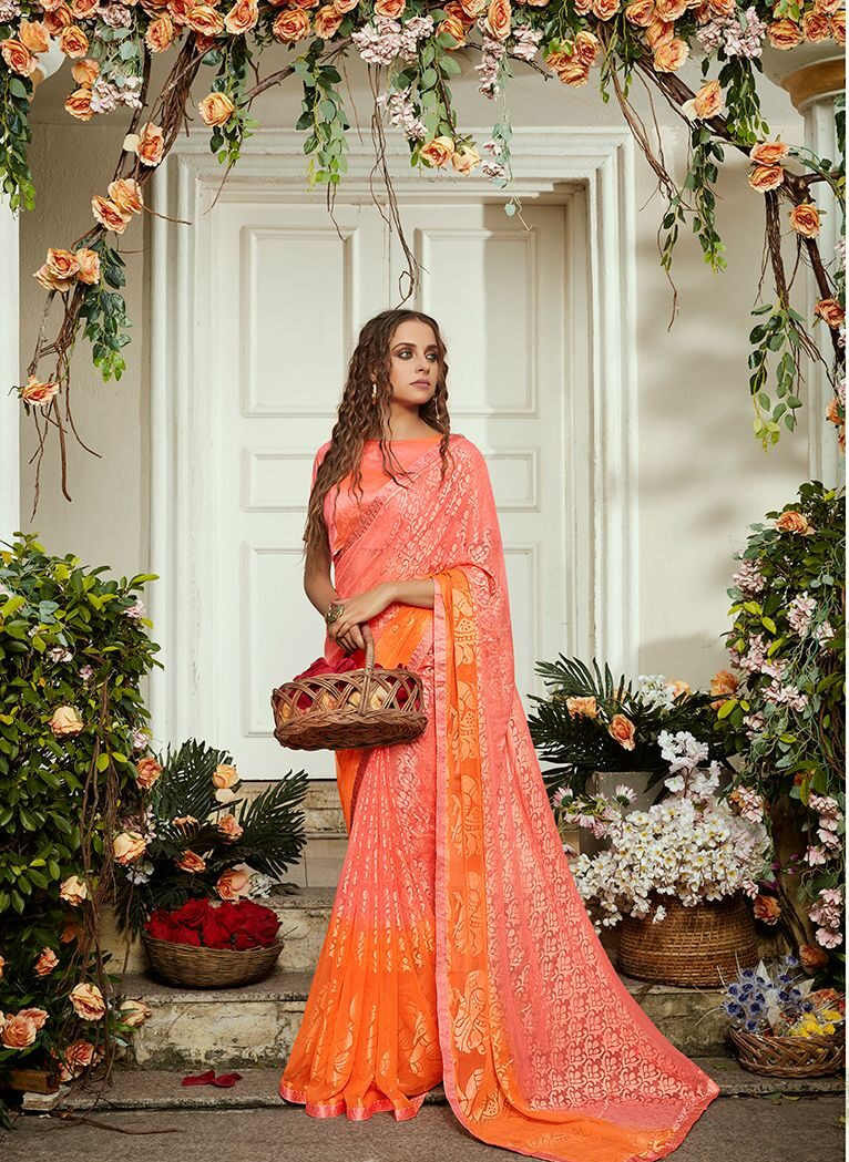 New Collection of Beautiful Saree in Carrot Colour